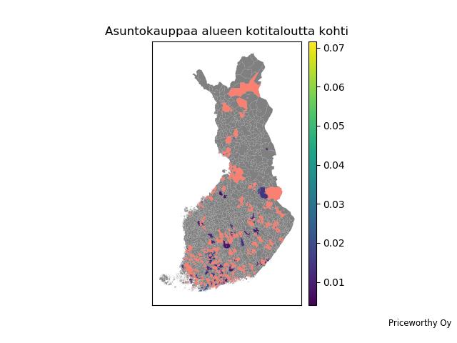 Asuntokauppaa per talous postinumeroalueittain Suomessa viimeisen 12 kk aikana.
