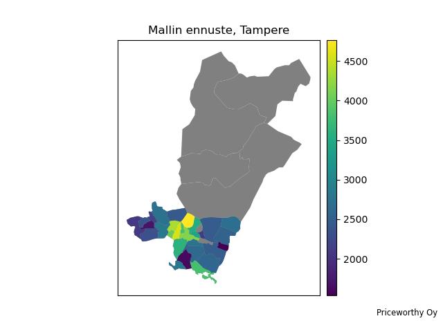 Mallin ennustama asuntojen toteutunut myyntihinta per neliö aineistossa mukana olevissa vuoden 2020 asuntokaupoissa Tampereella.