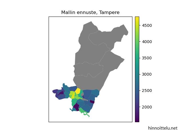 Mallin ennustama asuntojen keskimääräinen myyntihinta Tampereen eri postinumeroalueilla vuonna 2020.